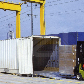 Transportable loading bridge for container
